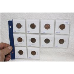 U.S.A. One Cent Coins (10)