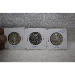 Canada Fifty Cent Coins (3)