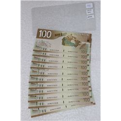 Canada One Hundred Dollar Bills (11); Uncirculated