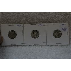 U.S.A. Ten Cent Coins (3)
