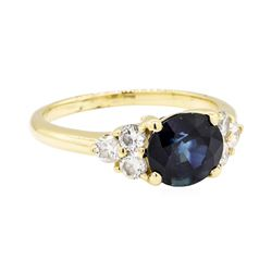 14KT Yellow Gold 2.48 ctw Sapphire and Diamond Ring