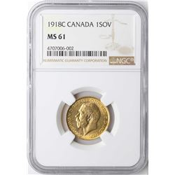 1918C Canada Sovereign Gold Coin NGC MS61