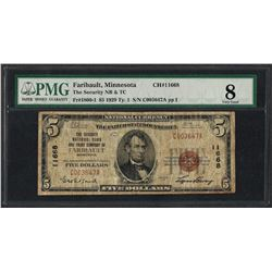 1929 $5 National Currency Note Faribault, MN CH# 11668 PMG Very Good 8