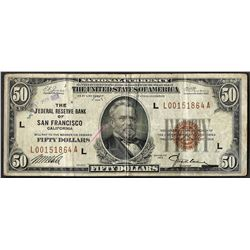 1929 $50 Federal Reserve Bank of San Francisco Note