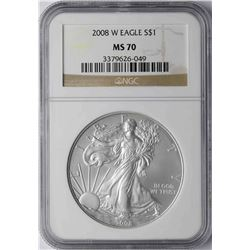 2008-W $1 American Silver Eagle Coin NGC MS70