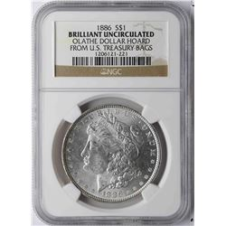 1886 $1 Morgan Silver Dollar Coin NGC Brilliant Uncirculated