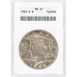 1934-S $1 Peace Silver Dollar Coin ANACS MS61
