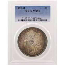1885-O $1 Morgan Silver Dollar Coin PCGS MS63 Nice Toning