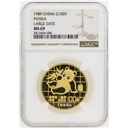 1989 Large Date China 100 Yuan Panda Gold Coin NGC MS69