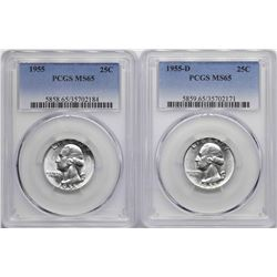 Lot of 1955 & 1955-D Washington Quarter Coins PCGS MS65