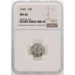 1945 Mercury Dime Coin NGC MS66