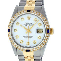 Rolex Mens Two Tone 14K White Diamond & Sapphire Datejust Wriswatch