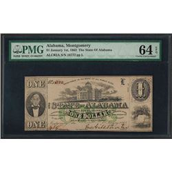 1863 $1 The State of Alabama Obsolete Note PMG Choice Uncirculated 64EPQ