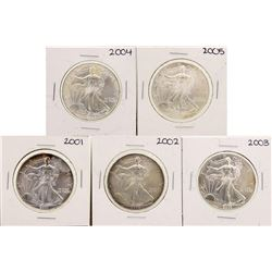 Lot of 2001-2005 $1 American Silver Eagle Coins