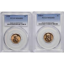 Lot of 1938 & 1938-S Lincoln Wheat Cent Coins PCGS MS66RD