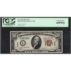 1934A $10 Hawaii Federal Reserve WWII Emergency Note PCGS Extremely Fine 45PPQ