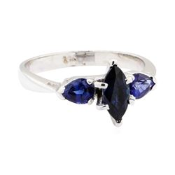 14KT White Gold 0.70 ctw Sapphire Ring