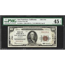 1929 $100 Crocker First NB San Francisco Note CH# 1741 PMG Choice Extremely Fine