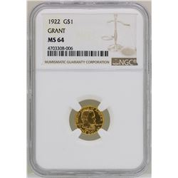 1922 $1 Grant Commemorative Gold Dollar Coin NGC MS64