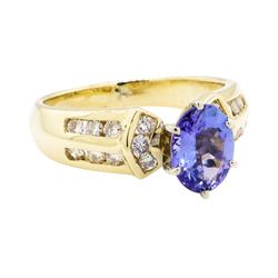 14KT Yellow Gold 2.11 ctw Sapphire and Diamond Ring