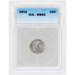 1913 Barber Dime Coin ICG MS65