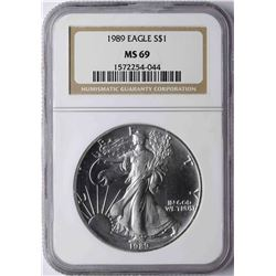 1989 $1 American Silver Eagle Coin NGC MS69
