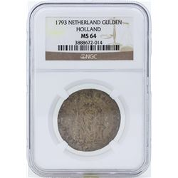 1793 Netherland Gulden Holland Coin NGC MS64