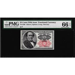 1874 Twenty-Five Cents Fifth Issue Fractional Note PMG Gem Uncirculated 66EPQ