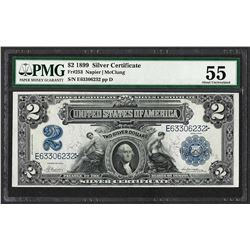 1899 $2 Mini-Porthole Silver Certificate Note Fr.253 PMG About Uncirculated 55
