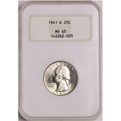 1941-D Washington Quarter Coin NGC MS65 Old Holder