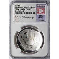 2014-P $1 Baseball Hall of Fame Coin NGC PF70 Ultra Cameo Eddie Murray