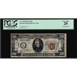 1934A $20 Hawaii Federal Reserve Note WWII Emergency Note PCGS Very Fine 20