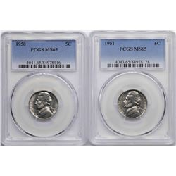Lot of 1950-1951 Jefferson Nickel Coins PCGS MS65