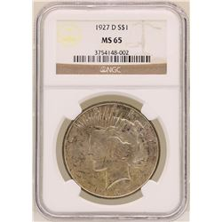 1927-D $1 Peace Silver Dollar Coin NGC MS65