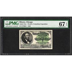 1893 World's Columbian Exposition Ticket Lincoln PMG Superb Gem Uncirculated 67E
