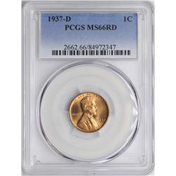 1937-D Lincoln Wheat Cent Coin PCGS MS66RD