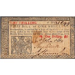 March 25, 1776 New Jersey One Shillings Colonial Currency Note