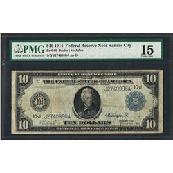 1914 $10 Federal Reserve Note Kansas City Fr.940 PMG Choice Fine 15