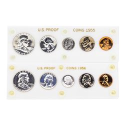 Lot of 1955-1956 (5) Coin Proof Sets