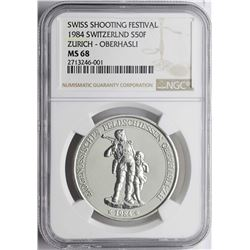 1984 Switzerland 50 Francs Shooting Festival Coin NGC MS68