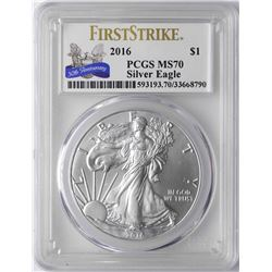 2016 $1 American Silver Eagle Coin PCGS MS70 First Strike