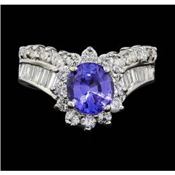 14KT White Gold 1.55 ctw Tanzanite and Diamond Ring