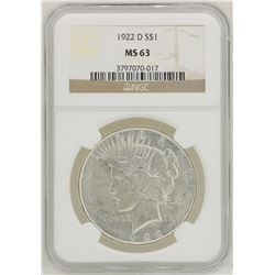 1922-D $1 Peace Silver Dollar Coin NGC MS63