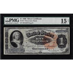 1886 $1 Martha Washington Silver Certificate Note Fr.217 PMG Choice Fine 15 Net
