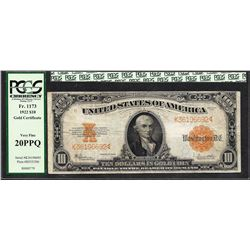 1922 $10 Gold Certificate Note Fr.1173 PCGS Very Fine 20 PPQ