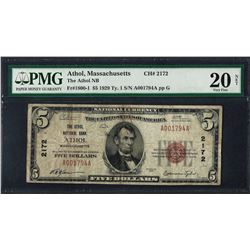 1929 $5 National Currency Note Athol, MA CH# 2172 PMG Very Fine 20 Net