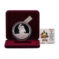 1987 Rarities Mint Walt Disney Snow White Grumpy 5oz .999 Silver Coin w/Box & CO