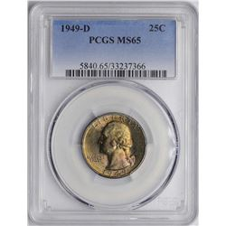 1949-D Washington Silver Quarter Coin PCGS MS65 AMAZING TONING