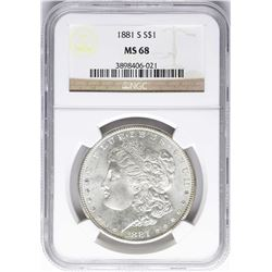 1881-S $1 Morgan Silver Dollar Coin NGC MS68