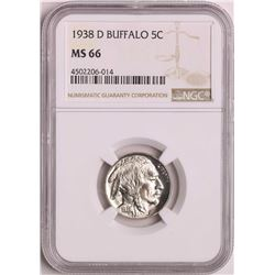 1938-D Buffalo Nickel Coin NGC MS66